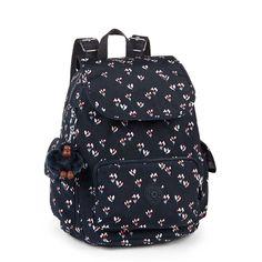 Mochila de passeio City Pack S azul Small Flower Kipling