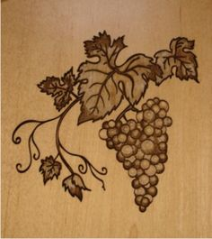 grape vine laser engraving on wood