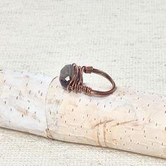 Smoky quartz ring, copper wire ring, boho gemstone ring, ring gift, tribal ring, bohemian jewelry, statement ring, lightweight ring