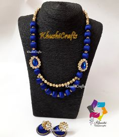 Silk thread Jewellery with Earrings in Blue shade and Designer Side Pendants-Handmade Indian Jewelry by KhushiHandicraft on Etsy