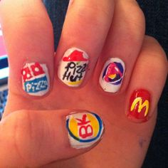 Fast food themed nails :) burger king, dominos, pizza hut, taco bell, and mcdonalds
