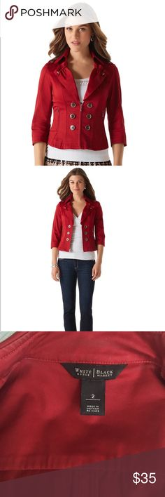 Red Cotton jacket Adorable and functional red cotton jacket. Perfect for spring, cool summer nights, and fall! Lightly worn but still in good condition. Trench coat inspired look. Good stretch to the material. White House Black Market Jackets & Coats Blazers