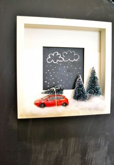 Christmas shadow box in Ikea Ribba frame