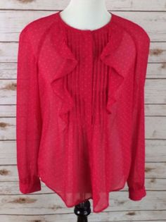Ann Taylor LOFT sheer button front top with ruffles. Hot pink with gold stars. No holes or stains. Smoke free home. | eBay!