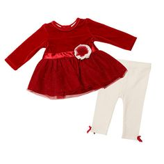 """Koala Baby Boutique Girls 2 Piece Red Shimmer Netting Skirted Top with Ivory Legging Pant Set - Koala Baby  - Babies""""R""""Us"""