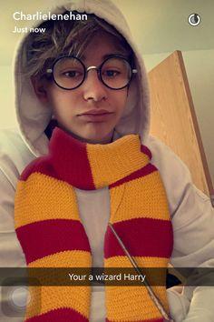Harry Potter filter snapchat leondre devries Leo lender dopamine bars and melody Charlie lenehan glasses scarf