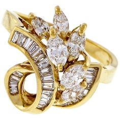 Preowned Marquise Baguette Diamond Gold Swirl Cocktail Ring ($2,625) ❤ liked on Polyvore featuring jewelry, rings, fashion rings, multiple, gold diamond rings, gold statement ring, diamond cocktail rings, channel set diamond ring and statement rings