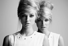 Twins Shoot - Photographer Sandro Bäbler, Stylist Catherine Bown, Make-Up Artist Renee De Sambento, Hair Stylist Kevin Epstein, Models Ieva Aniulyte & Aida Aniulyte of Vision Models