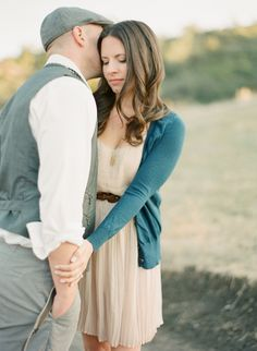 engagement outfit: cream dress + belt + cardigan for her /// pastel or neutral shirt + vest for him (photo by Sara Hasstedt) Engagement Outfits, Beach Engagement, Engagement Pictures, Engagement Session, Couple Photography, Engagement Photography, Photography Ideas, Our Wedding Day, Wedding Dreams