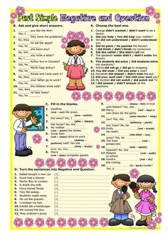 English worksheet: Past Simple / Negative-Question English Teaching Materials, Teaching English Grammar, English Grammar Worksheets, Efl Teaching, Teaching Skills, English Games, English Activities, English Lessons, Learn English