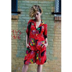 """Vintage red floral 2 piece shorts set with gold beading. Elastic waistband in shorts, shoulder pads in shirt. 100% rayon. Made in India. New with tags! This set is so dope! I love it!  Tag size Large (will fit XL) Bust 48"""" Waist 30""""-44"""" $28 shipping included in price  Leave email for invoice SOLD!!"""