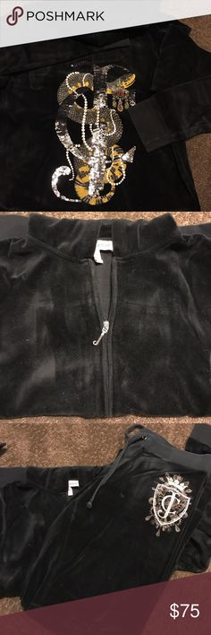 Juicy Couture sweat suit Black velour sweatsuit. L bottoms, long pant wide leg traditional Juicy with XL below the waist zip front hooded jacket. Amazing detail! Worn once , machine wash and dry ... any creases are from being folded in storage and will erase with wear or washing. Juicy Couture Pants Track Pants & Joggers