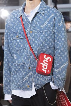 01c919af01d A look from the Louis Vuitton x Supreme collaboration. Photo  Imaxtree.  Louis Vuitton