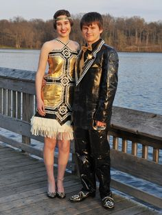"""Gabrielle and her date matched their duct-tape ensemble to their school's Great Gatsby prom theme. """"Our design's geometric symmetry is modeled after the era's Art Deco style, while the bold contrast of gold, black, and white reflect the extravagance of life in the Roaring '20s,"""" they told stuckatprom.com.   - Seventeen.com"""