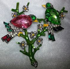"""Trifari """"Alfred Philippe"""" Two Birds on Branches Brooch / Philippe also designed for fine jewelers Cartier and Van Cleef and Arpels. Pieces by Philippe are highly collectible for their beauty and excellent craftsmanship /1,450"""