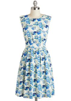 Too Much Fun Dress in Boats by Emily and Fin - Blue, White, Novelty Print, Pockets, Casual, Nautical, A-line, Sleeveless, Variation, Beach/Resort, Summer