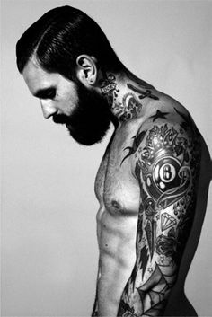 Beard, tattoos and abs doesn't get better than that.
