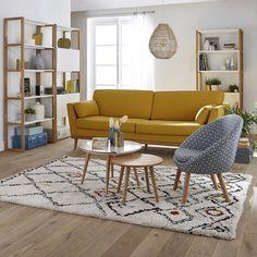 Canapé vintage 3 et 4 places, Tasie coton/lin Home Living Room, Living Room Furniture, Living Room Designs, Home Furniture, Living Room Yellow, Yellow Couch, Furniture Vintage, Plywood Furniture, Living Room Decor Inspiration