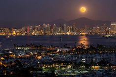 12/31/14 Spectacular moon over Downtown. Shot from Point Loma by Brian Connolly Photography