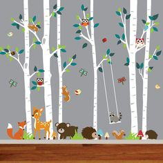 This birch tree vinyl wall decal mural is sure to be the perfect way to transform your childs nursery. The set includes birch trees with playful