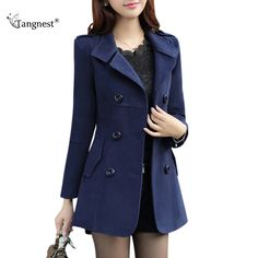 Best Selling $19.99, Buy TANGNEST Women Trench 2017 New Plus Size M-3XL Women Jacket Ladies Pea Coat Slim Double Breasted Blended Coats WWN717