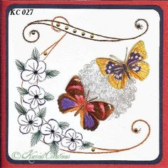 KarinsCreations Basic Embroidery Stitches, Embroidery Flowers Pattern, Flower Patterns, Beautiful Handmade Cards, Small Cards, Metallic Thread, Gift Tags, Picture Frames, Decoupage