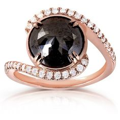 Round Rose-Cut Black and White Diamond Bypass Ring 3 7/8 Carat (ctw)... ($1,380) ❤ liked on Polyvore featuring jewelry, rings, red gold ring, pink gold diamond ring, diamond rings, rose cut diamond jewelry and rose gold ring
