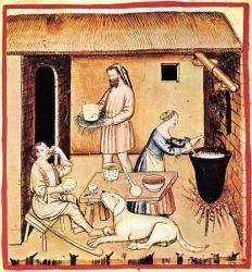 Fabrication de fromage au Moyen âge - Illustration du XIV° siècle.