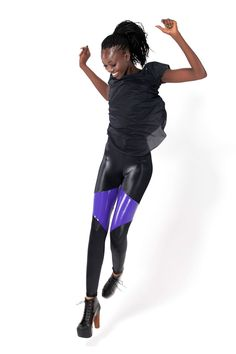 Spartans PVC Purple Leggings by Black Milk Clothing