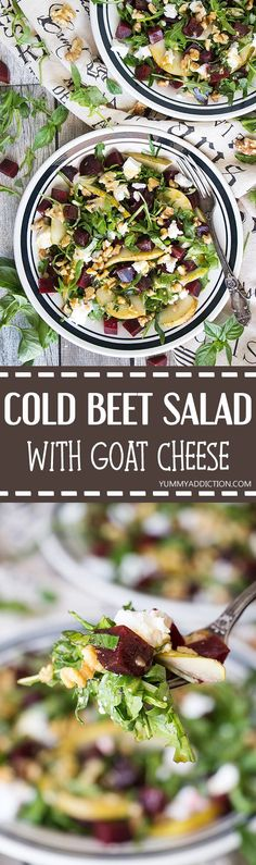 Cold Beet Salad Recipe - w/ Goat Cheese, Arugula, and Pear Beet Salad Recipes, Beetroot Recipes, Smoothie Recipes, Korean Bbq Recipe, Cold Lunches, Healthy Lunches, Healthy Eating, Low Carb Chicken Salad, Goat Cheese Salad