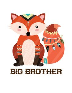 Tribal Siblings Fox Hunters Your Choice of 2 digital downloads DIY for iron-ons…