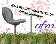 """Don't forget to enter to win the OFM """"Work Inside, Work Outside Office Giveaway"""" simply by liking our Facebook page www.facebook.com/ofminc and sending an email to outsideoffice@ofminc.com with """"outside"""" in the subject line. In the email, tell us in three sentences or less why you enjoy taking your work outside when the weather is nice and how it helps you be more productive. Enter by 11:59 p.m. EST tonight!"""