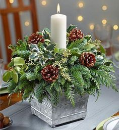 20 Magical Christmas Centerpieces That Will Make You Feel Th.- 20 Magical Christmas Centerpieces That Will Make You Feel The Joy Of The Holidays Galvanized Container Candle Centerpiece - Christmas Candle Decorations, Christmas Flower Arrangements, Christmas Flowers, Christmas Candles, Christmas Wreaths, Christmas Greenery, Advent Wreaths, Holiday Decor, Candle Arrangements