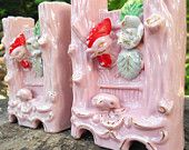 Chicken Bud Vase Set  of 2, 1950s Pink and Gold trim, handpainted chickens in coop ceramic Shabby Cottage or Kitschy Rooster Kitchen Decor