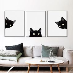 Kawaii Watercolor Black Cat Head Animal Art Print Poster A4 Cute Wall Picture Nordic Hipster Home Decor Canvas Painting No Frame