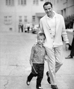 Jack Lemmon and his son Chris. ca 1955 - Imgur
