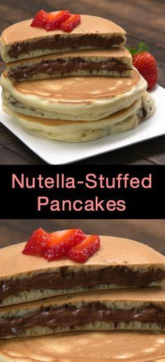 Simple trick to stuff pancakes with Nutella or chocolate. Nutella Pancakes, Chocolate Pancakes, Pancakes Easy, Chocolate Torte, Pancakes Recipe Video, Breakfast Recipes, Dessert Recipes, Nutella Recipes, Nutella Deserts