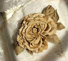 Rose hair comb, bridal headpiece, couture silk rose, golden flower