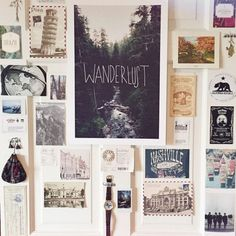 Arrange postcards, souvenirs and knickknacks from your travels.