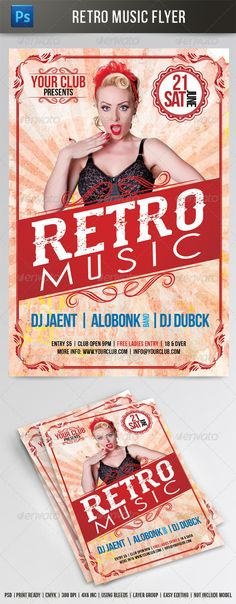 Retro Music Flyer Template — Photoshop PSD #bash #vintage flyer • Available here → https://graphicriver.net/item/retro-music-flyer-template/7675466?ref=pxcr