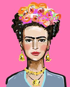Frida with Roses, Hot Pink Just pick your size on the right hand pull-down menu. These prints are on premium heavy matte paper, beautiful and vibrant inks. You will be happy. Watermark will not appear on your print. All paper prints are on heavy matte paper with archival quality
