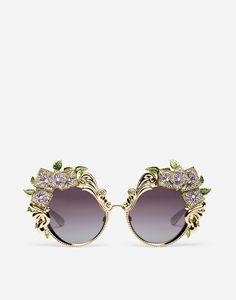 Dolce & Gabbana Metal Sunglasses With Hydrangea Embellishment Latest Sunglasses, Gold Sunglasses, Sunglasses Accessories, Women's Accessories, Sunglasses Women, Sunnies, Sunglasses Sale, Stylish Sunglasses, Dolce And Gabbana Eyewear