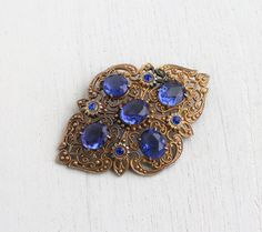 Antique Art Deco Blue Glass Stone Brooch  Czech by MaejeanVintage, $52.00