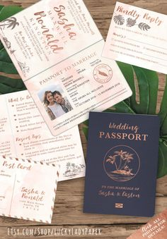 Destination Wedding Passport Invitation Set in Rose Gold and Blush Watercolor Tropical Design by Luckyladypaper - Hard Copy Generic Sample set -OR- Deposit towards customizing your very own invitations! - PLEASE READ THE FOLLOWING DETAILS CAREFULLY BEFORE PURCHASING THIS LISTING. ♥ Oh