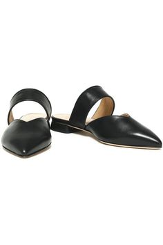 Leather point-toe flats | IRIS & INK | Sale up to 70% off | THE OUTNET