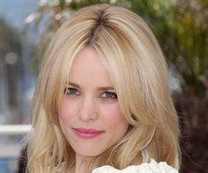 Rachel McAdams. Fresh, natural make up. Blonde. Fair complexion, green eyes. Bright pink lip.
