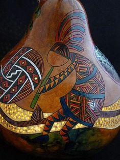 Gourd Lamp Kokopelli native american gourd by YellowCottageStudios Southwest Decor, Southwest Style, Native American Pottery, Native American Indians, Decorative Gourds, Gourd Lamp, Painted Gourds, Rum, Native Art