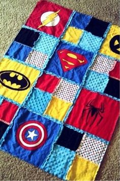 Patchwork Quilt. I love this but maybe without the girly patches just the superhero logos.