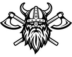 This high quality Crossed Battle Ax Viking Warrior decal showcases your love of the Vikings and Norse mythology! This transfer decal applies design without background making it ideal for coolers, kayaks, car w. Viking Warrior, Art Viking, Viking Logo, Viking Helmet, Norse Runes, Viking Symbols, Axe Tattoo, Helmet Tattoo, Skull Helmet