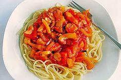 Spaghetti mit Paprikasoße